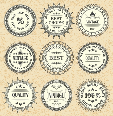 Vector set of vintage labels, discount labels set    Stock Vector - 14668686