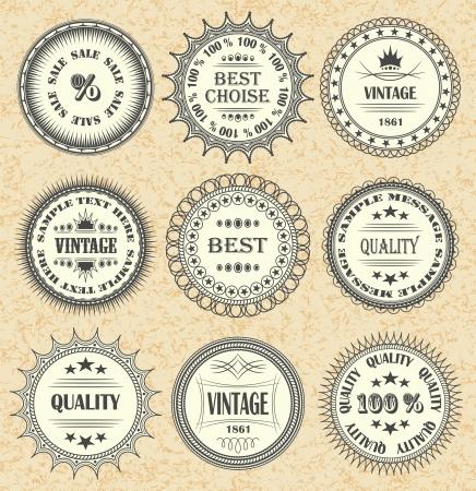 Vector set of vintage labels, discount labels set