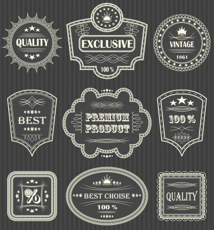 Étiquettes Vintage. Fond rayé Vecteurs