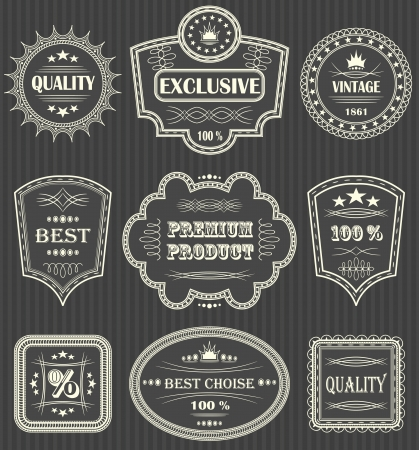 Vintage labels. Striped background