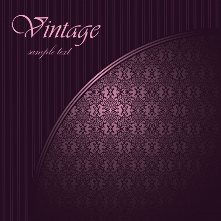 Elegant card with seamless damask wallpaper and place for text      Vector