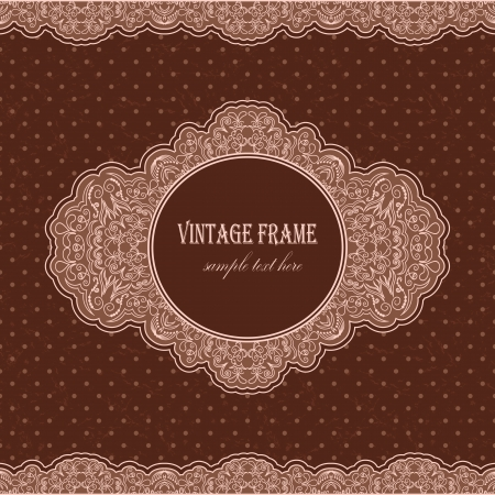 Vintage retro frame on the grunge background with polka dots      Vector