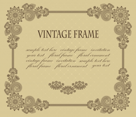 Vintage floral frame on beige background  Vector