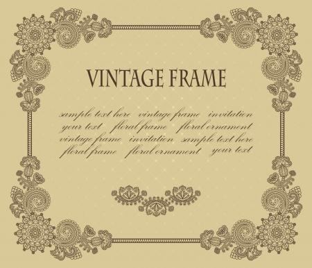 Vintage floral frame on beige background Stock Vector - 14668685