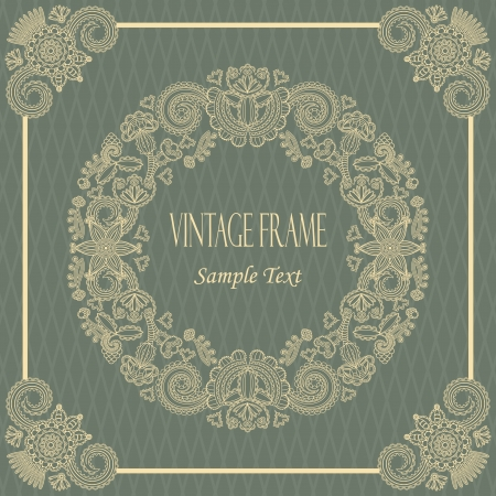 congratulations text: Elegant vintage card with floral borders