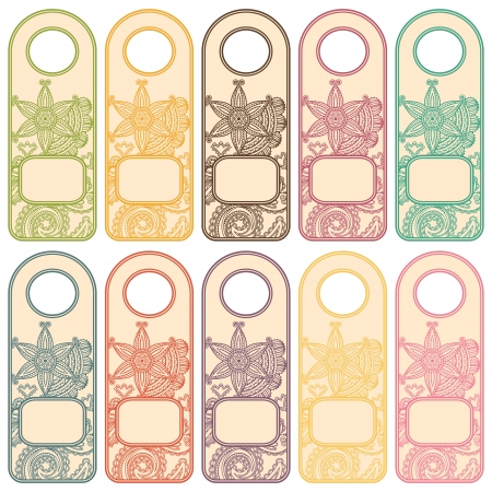 Set of tags with floral patterns