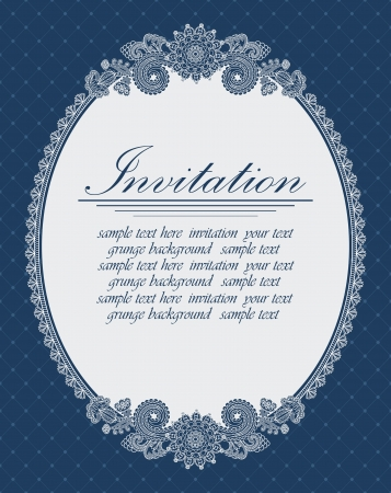 retro lace: Elegant oval frame on a blue background. Can be used as an invitation               Illustration