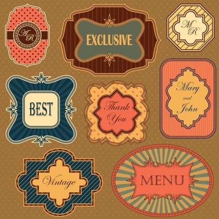 Collection of vintage frames and labels in retro style