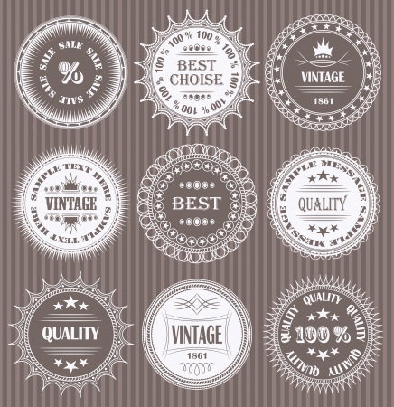 Vector set of round labels              Illustration