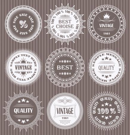 Vector set of round labels              Illustration
