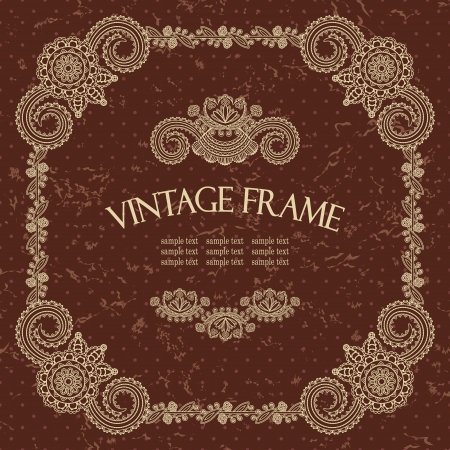 Elegant frame in retro style on grunge background with polka dots          Vector