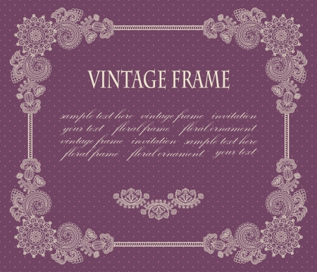 Frame with floral decoration on a violet background with polka dots           Vector