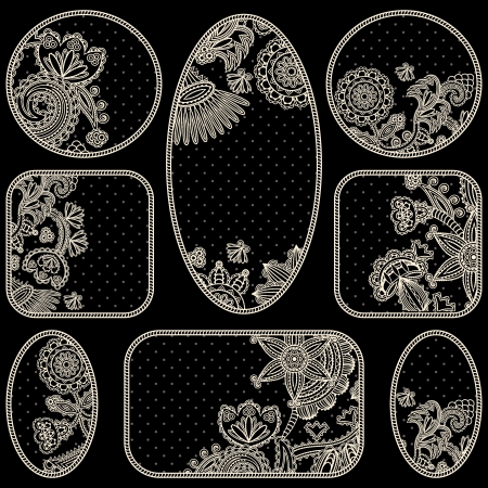Set of floral frames on a black background with polka dots. Can be used as a framework, medallions, tags, labels and other Vector