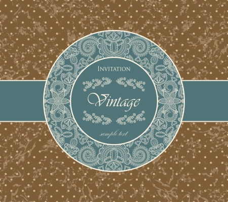 The original card with vintage floral frame. Retro style, grunge background