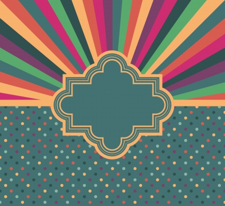 Colorful card in the background with rays and polka dots Vector