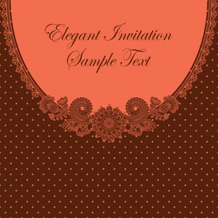 Elegant invitation with floral pattern and polka dot background    Vector