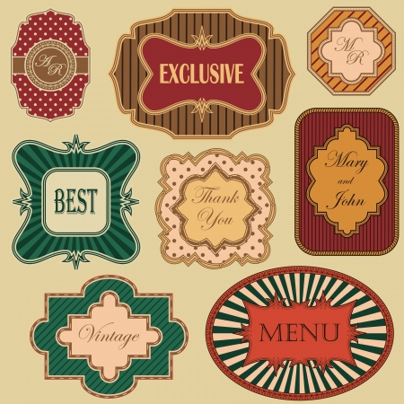 Collection of vintage frames and labels in retro style on a light background Stock Vector - 15193978