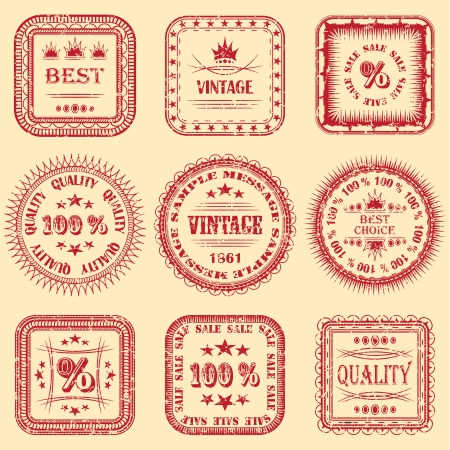 Vector collection of labels with grunge design      Illustration