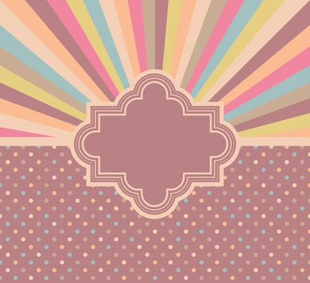 Card in the background with rays and polka dots with pastel colors                       Vector