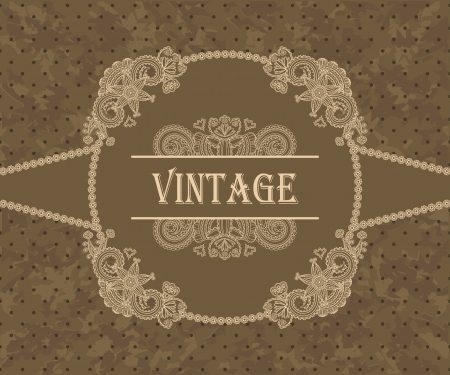 Card with vintage floral frame. Retro style, grunge background      Vector