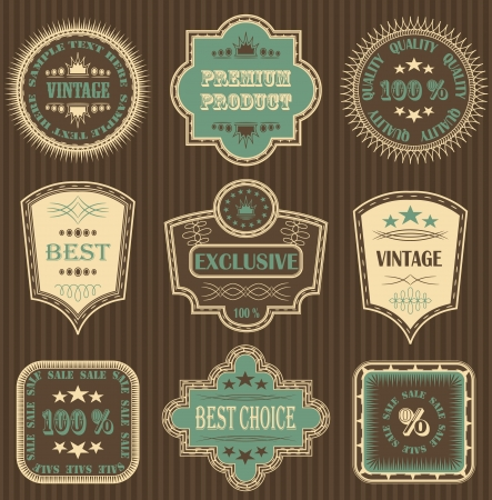 Vector set. Vintage labels. Striped background      Vector