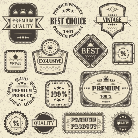 Vector set of retro labels and icons Stock Vector - 14971935