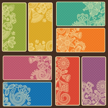 Set of business cards with abstract floral pattern and background with polka dots in bright colors    Vector