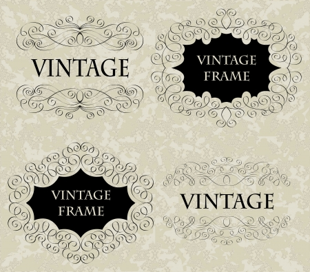 Set of hand-drawn frames on seamless grunge background    Stock Vector - 15095358