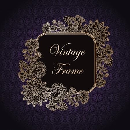 Vintage frame on a dark violet seamless background with floral decoration