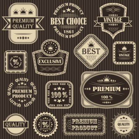 imagery: set. Vintage labels. Striped background    Illustration