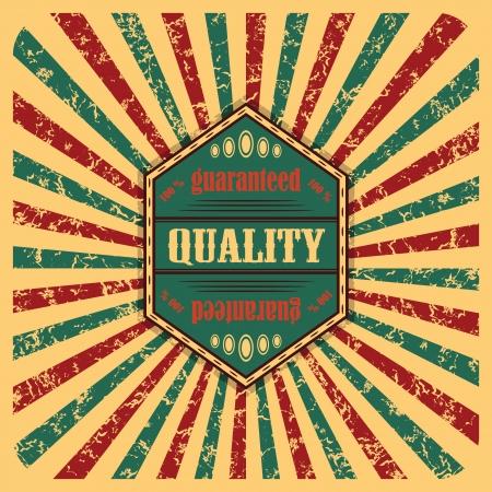Etichetta Vintage sullo sfondo astratto con raggi colorati Vettoriali