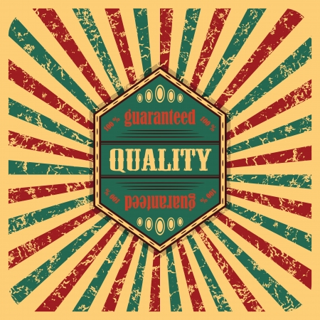 Vintage label on the abstract background with colored rays     Vector