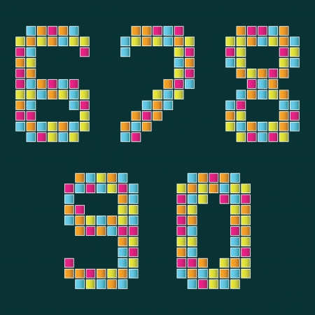 0 6: Set of numbers lined with multi colored tiles on a dark blue background      Illustration