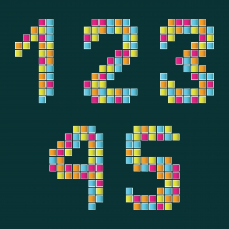 Set of numbers lined with multi colored tiles on a dark blue background      Stock Vector - 15095340