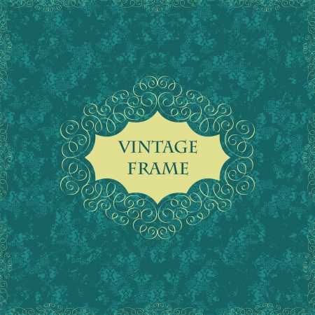 Elegant vintage card with grunge damask seamless background  Vector