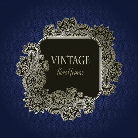 Vintage floral frame on seamless background                    Vector