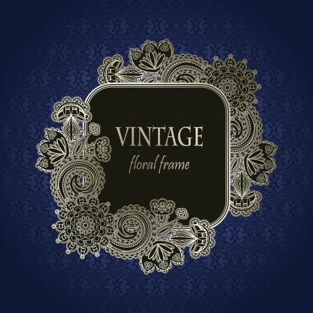 Vintage floral frame on seamless background                    Illustration