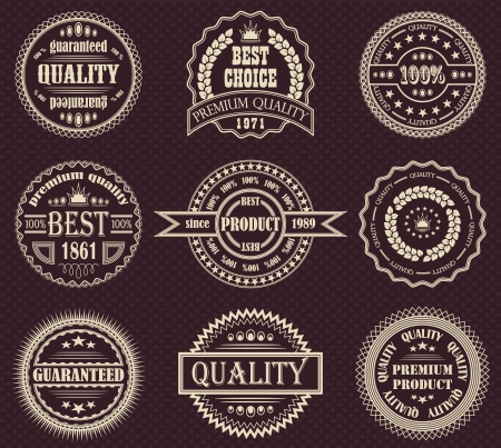 scroll shape: set of retro labels  Illustration