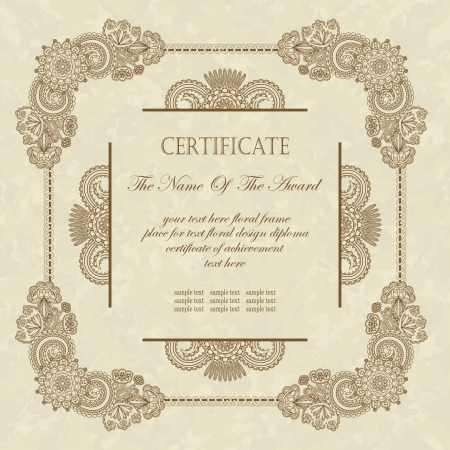 Vintage floral frame. Can be used as a diploma or certificate                      Stock Vector - 15315187