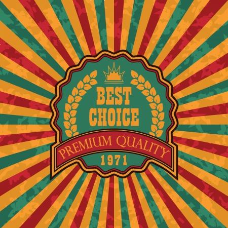 fita: Etiqueta do vintage no fundo do grunge com raios coloridos Ilustra��o