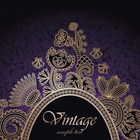 Vintage frame on a dark seamless background with floral decoration      Illustration
