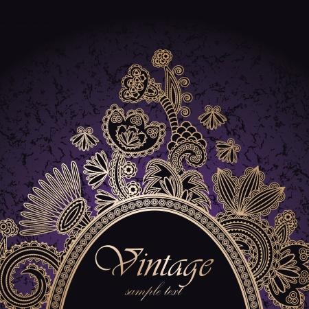 Vintage frame on a dark seamless background with floral decoration      Ilustração