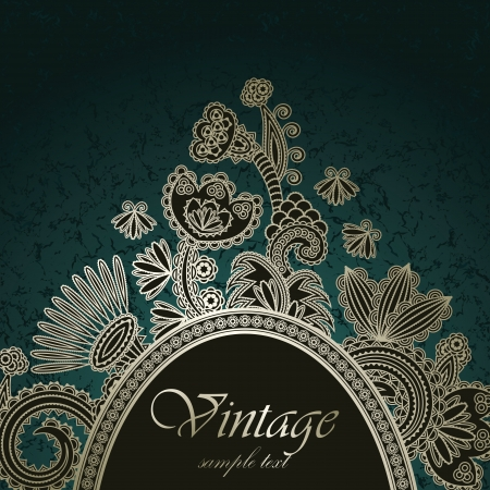 ornamental scroll: Vintage floral frame on abstract background      Illustration