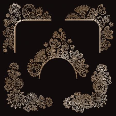 Set of floral design elements     Stock Vector - 16062364