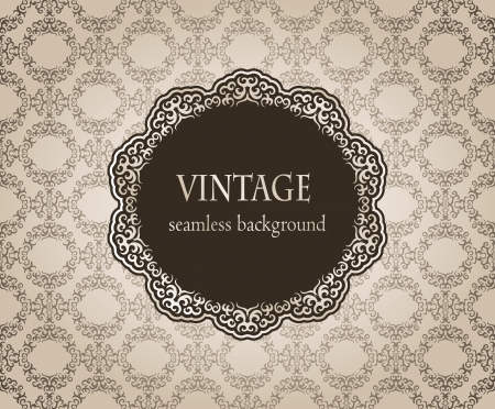 Vintage card with damask seamless background