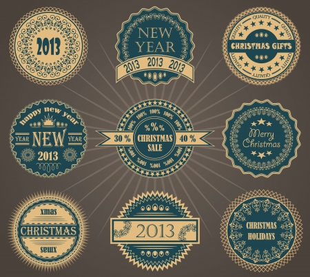 Vector set of Christmas labels     Vector