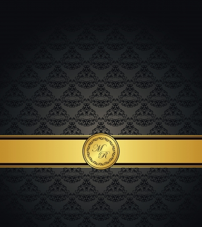 Vintage seamless wallpaper with a gold ribbon  Can be used as greeting card or invitation    Ilustração