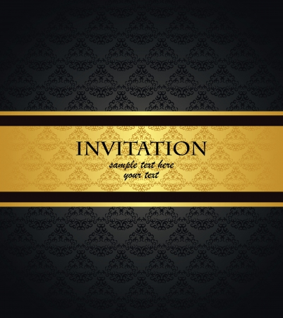 Vintage seamless wallpaper with a gold ribbon  Can be used as invitation    Illustration