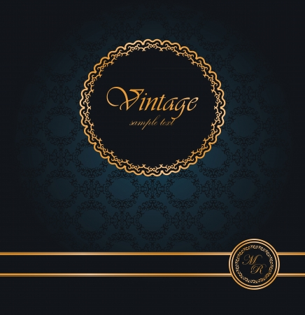gold swirls: Vintage seamless wallpaper with a ribbon and frame  Can be used as greeting card or invitation