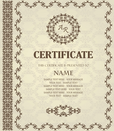 Stylish frame in retro style. Can be used as a diploma or certificate       Vector
